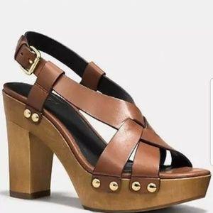 Coach Adessa brown studded wooden heels